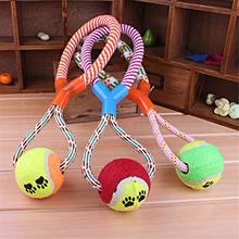 2016 Hot Sell Dog Toys Cotton Rope Y Word Single Ball Pet Dog Training Toys Durable Small Or Big Dog Tennis Toy Random Color