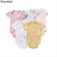 COSPOT Wholesale 5Pcs/lot Baby Girls Bodysuit Bebes Summer Jumpsuit Newborn Short Sleeved Jumpsuits Toddler Rompers 2019 25