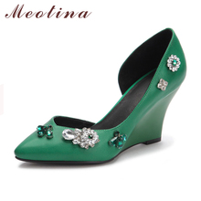 New Brand Women Pumps Genuine Real Leather Autumn Pointed Toe Party High Heel Wedges Female Rhinestone Green Shoes 3BA09