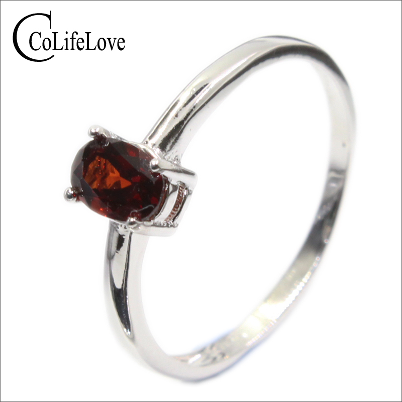 Promotion 925 silver ring inlay with 4 mm * 6 mm natural wine red garnet silver ring for wedding solid 925 silver garnet jewelry