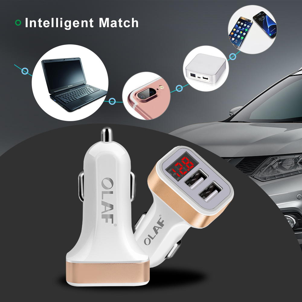 OLAF Dual USB Car Charger LED Digital Display GPS Auto Fast Charge Adapter USB Chargers For Samsung Xiaomi Tablet Car-Charger (5)