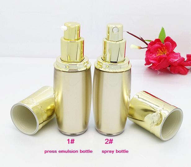 free shipping 30ml 10pcs / lot High-end yellow acrylic cosmetics packing bottle,press emulsion/lotion bottle / spray bottle