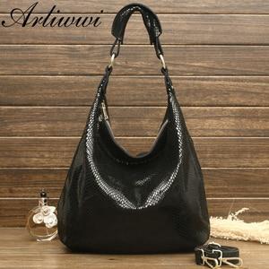 Image 3 - Arliwwi 100% Genuine Leather Shiny Serpentine Shoulder Bags Big Casual Soft Real Snake Embossed Skin Big Bag Handbags Women GB02