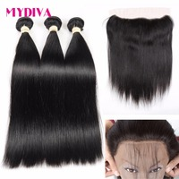 Mydiva Brazilian Straight Human Hair 3 Bundles With Closure Non Remy Hair Weave Bundles With Lace