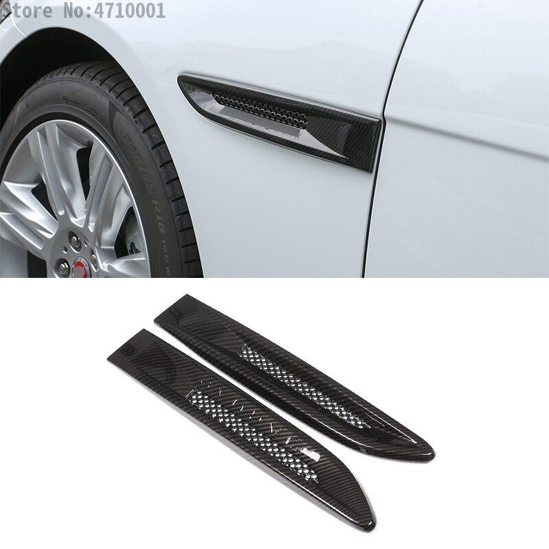 For Jaguar XFL XE F-PACE Car Body Side Fender Vent Outlet Trim Cover ABS Carbon Fiber Auto Accessories 2pcsFor Jaguar XFL XE F-PACE Car Body Side Fender Vent Outlet Trim Cover ABS Carbon Fiber Auto Accessories 2pcs