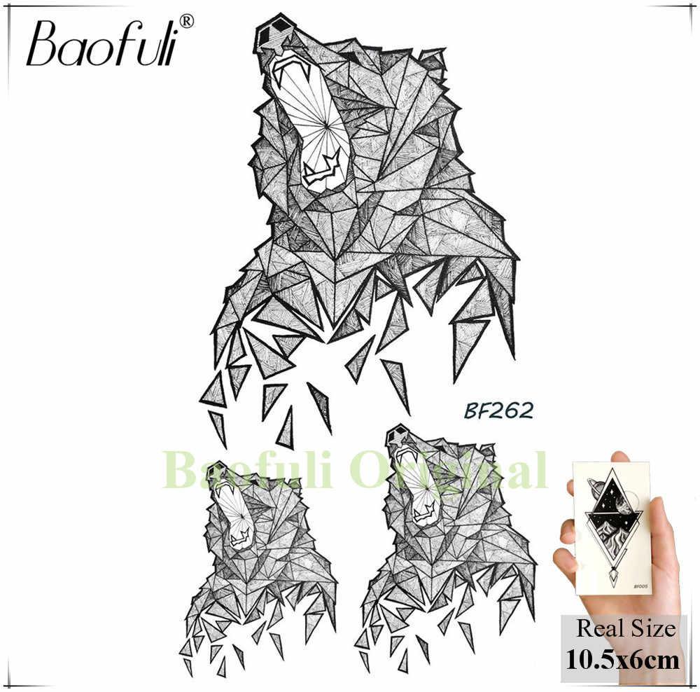 BAOFULI 幾何ダイヤモンドハウルクマ一時的なタトゥーステッカースクラップキツネライオン防水タトゥーボディー偽タトゥー男性女性