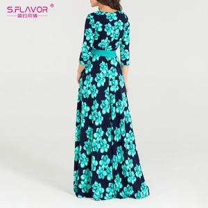 Image 4 - S.FLAVOR Women Bohemian long dress Hot sale Autumn winter fashion printing vestidos for female good quality women elegant dress