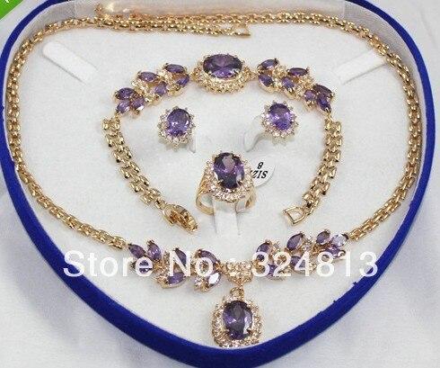 Vente chaude Noble-vente chaude nouvelle-Mode Nuptiale Ensemble de Bijoux pour Femmes Collier Boucle D'oreille Anneau Bracelet