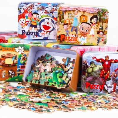 100pcs/set Wooden Puzzle Cartoon Toy 3D Wood Puzzle Iron Box Package Jigsaw Puzzle for Child Educational Montessori Wooden Toys memory match wood funny wooden stick chess game toy montessori educational block toys study birthday gift for kids 3d puzzle