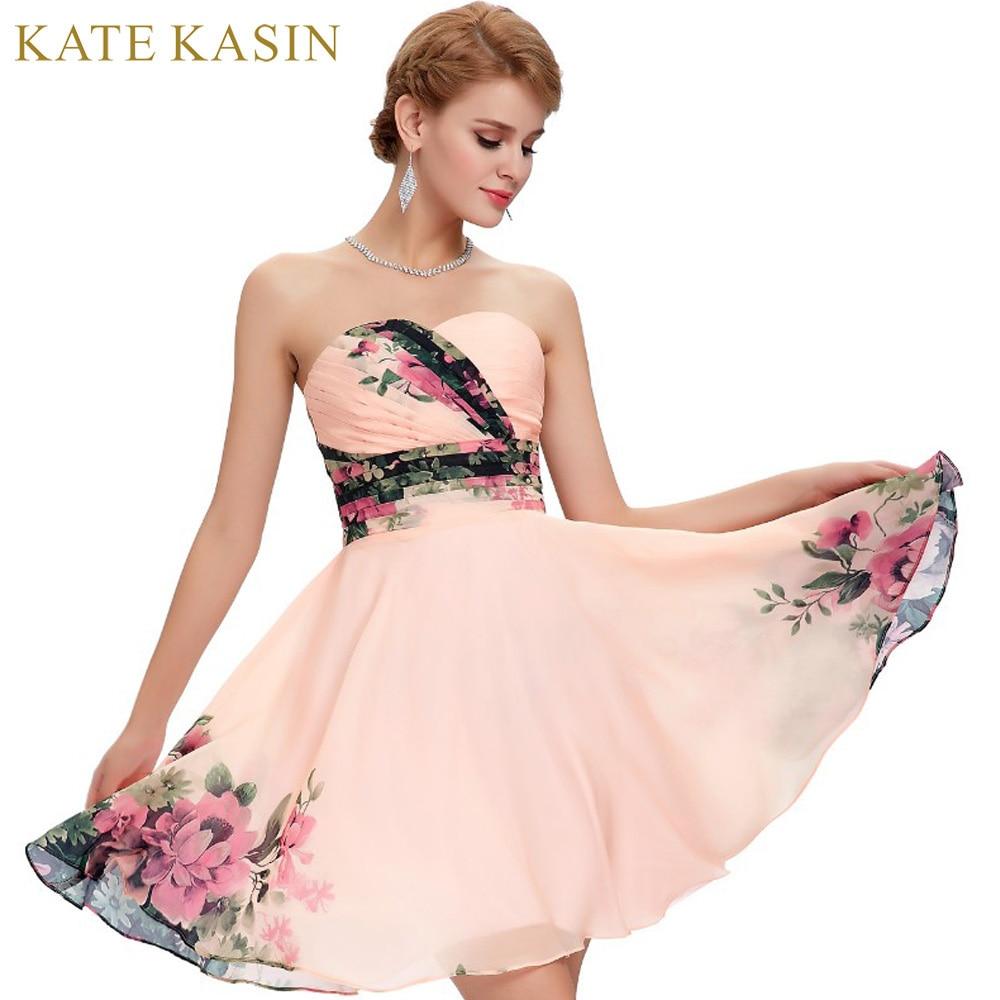 Flower Print Short Prom Dresses 2017 Chiffon Knee Length Homecoming ...