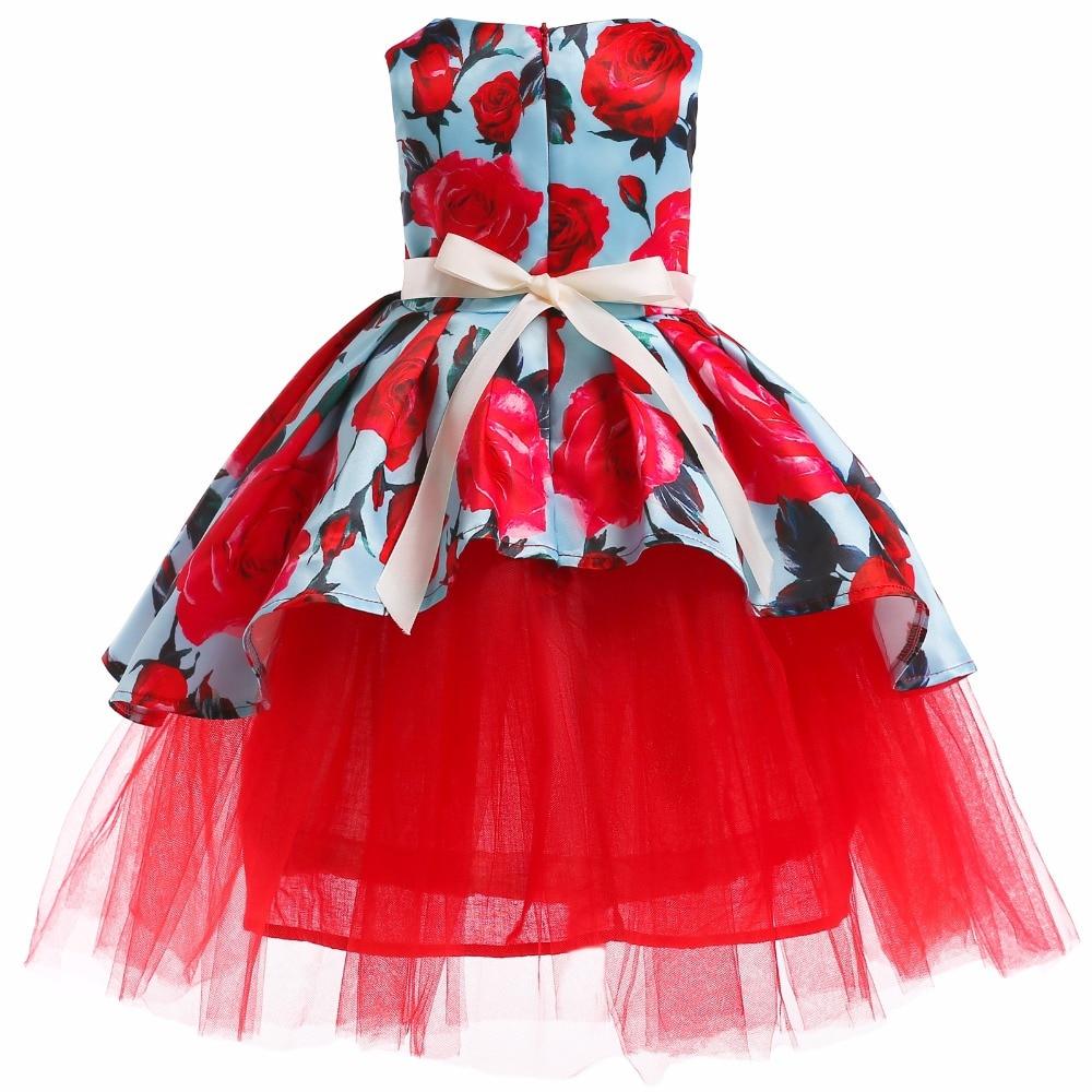 Girls Christmas Flower and Bird Dress Girl Princess Costume Dresses Girl Party Kids Children Prom Gown Vestido Formal Dress Bow 4