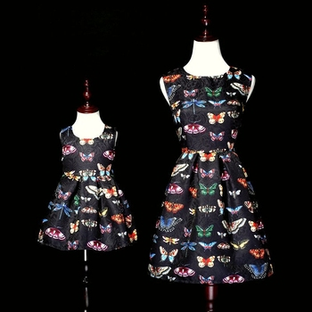 Spring mother daughter clothes mom and girl matching can customized plus size dress family look clothing women girls party dress