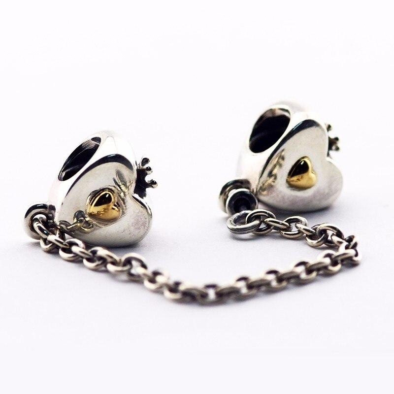 Adapte Pandora Bracelets D'origine Charme 100% 925 Bijoux En Argent Sterling Llove Coeur & Couronne Chaîne de Sécurité DIY Faisant