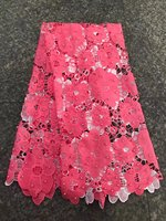 Pink Latest African Laces Fabrics Embroidered African Guipure French Lace Fabric 2017 African French Net Lace Fabric J1501