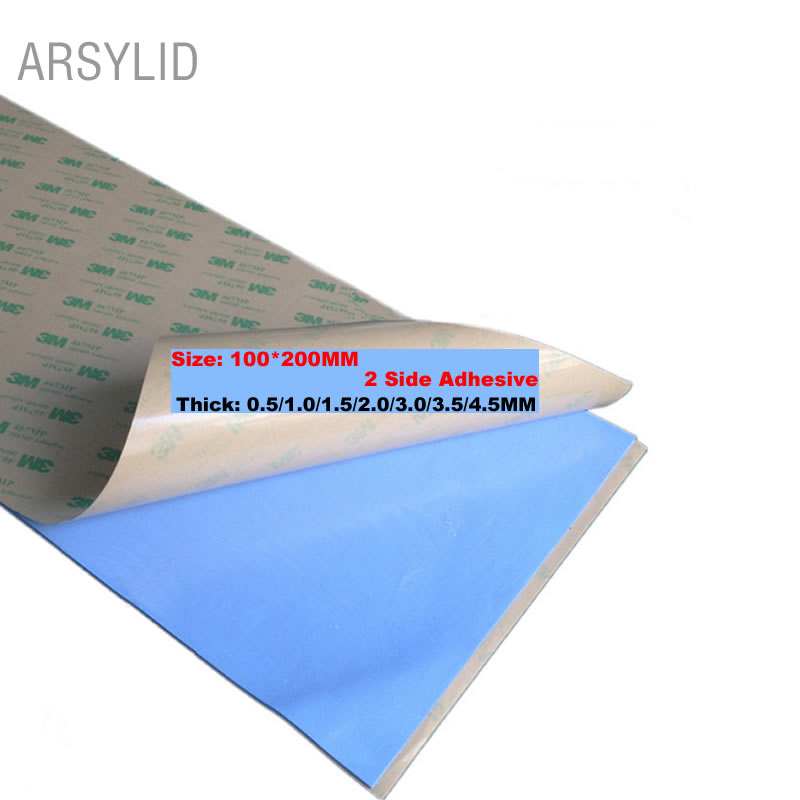 High Efficient thermal conductivity 3.6W 100mm*200mm Double side Conductive Heatsink Plaster thermal pad for heat sink radiator diy silicone thermal pad heat conduct mat for heat sink blue 400mm x 200mm x 1mm
