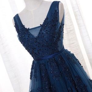 Image 3 - Vestido De Festa V Neck Cap Sleeve Vintage Lace Appliques Beaded Navy Blue Bridesmaid Dresses Women Formal Party Gowns