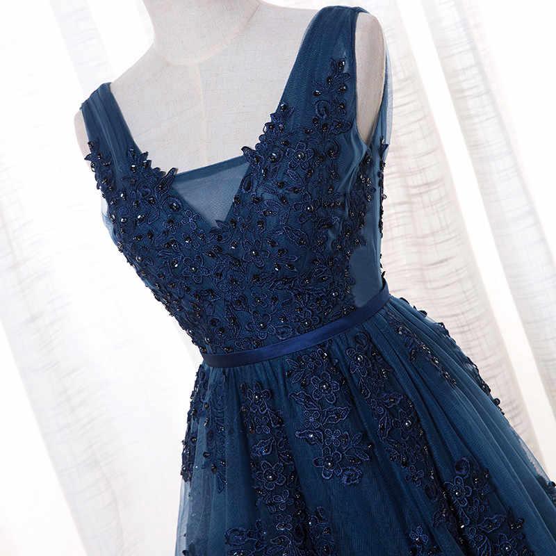 Vestido דה Festa V צוואר שווי שרוול בציר תחרה אפליקציות חרוזים חיל הים כחול שושבינה שמלות נשים פורמליות שמלות המפלגה