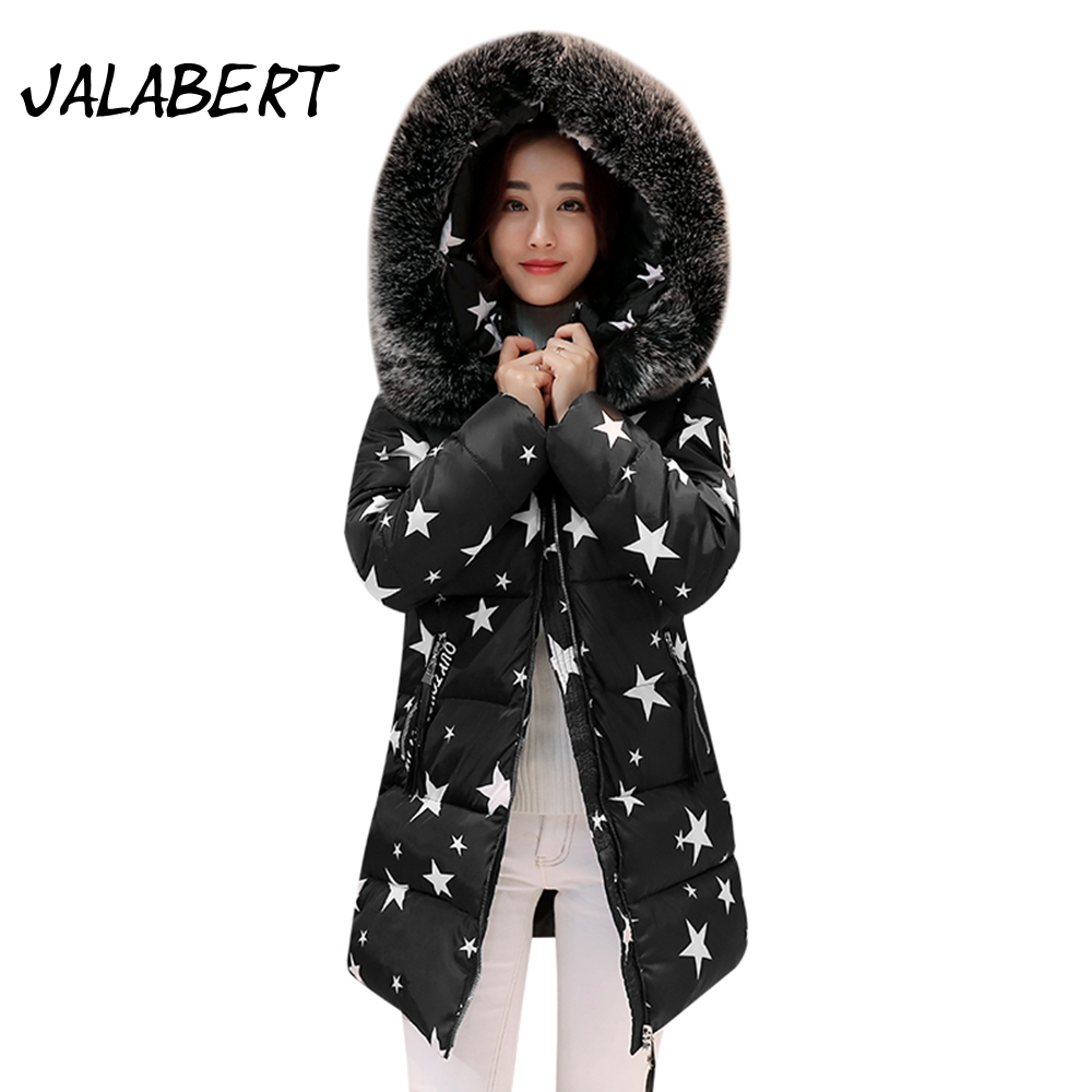 2017 winter new women large Fur collar Hooded coats Female long Slim cotton printing  pattern jacket Parkas warm new winter jacket coats 2017 women parkas long slim thicken warm jackets female large fur collar hooded cotton parkas cm1350