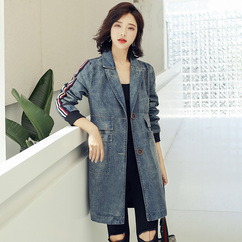 Fashion Washed Denim Jeans Windbreaker Women Chaqueta Mujer Streetwear Autumn Long   Trench   Coats Coat For Female Cloak