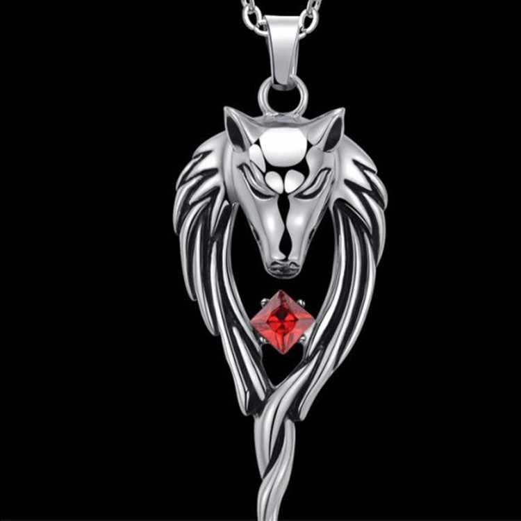 Fashion Punk Wolf Head Totem Pendants Statement Necklace Vintange Stainless Steel Choker For Men Jewelry Gifts Accessories