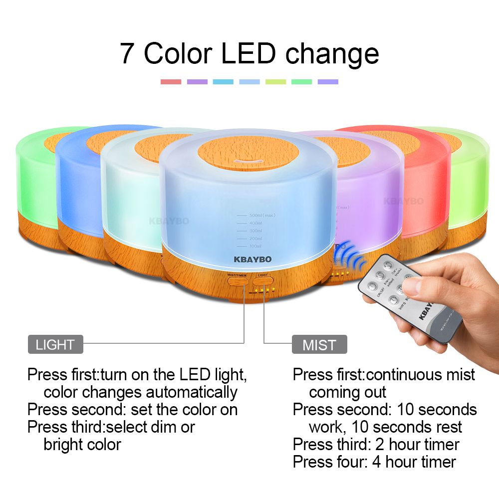 500ml Remote Control Aroma Essential Oil Diffuser Ultrasonic Air Humidifier with 4 Timer Settings 7 Color Changing LED Lamp K198