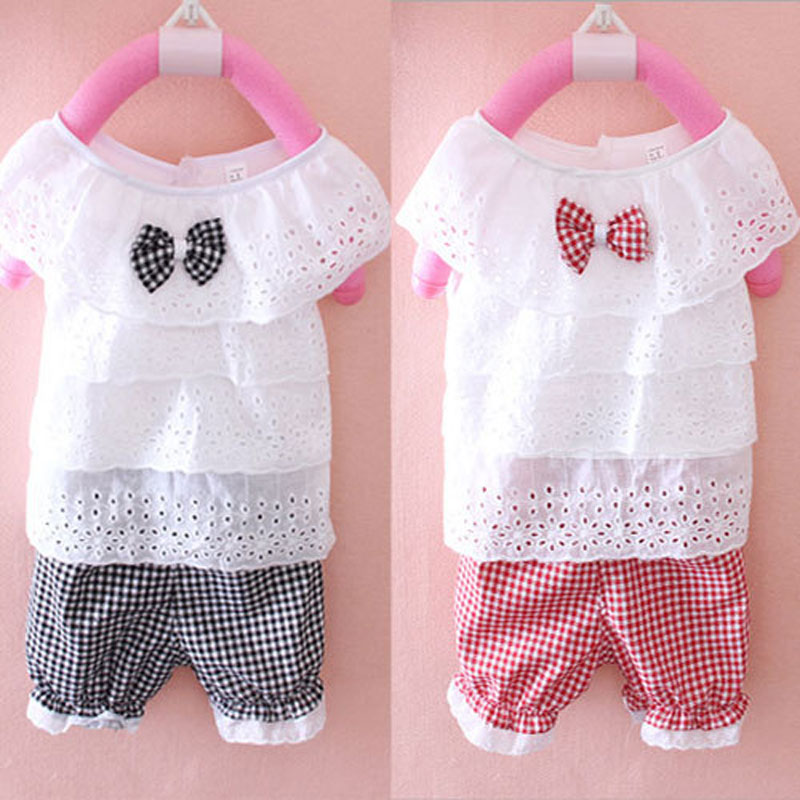 2016 summer infant girls baby clothes outfits brand cotton plaid shorts suit 2pcs set for child baby clothing cute girls sets 2016 summer europe fashionable girls cute girls short bow wave shorts cotton suit birthday gift for girls