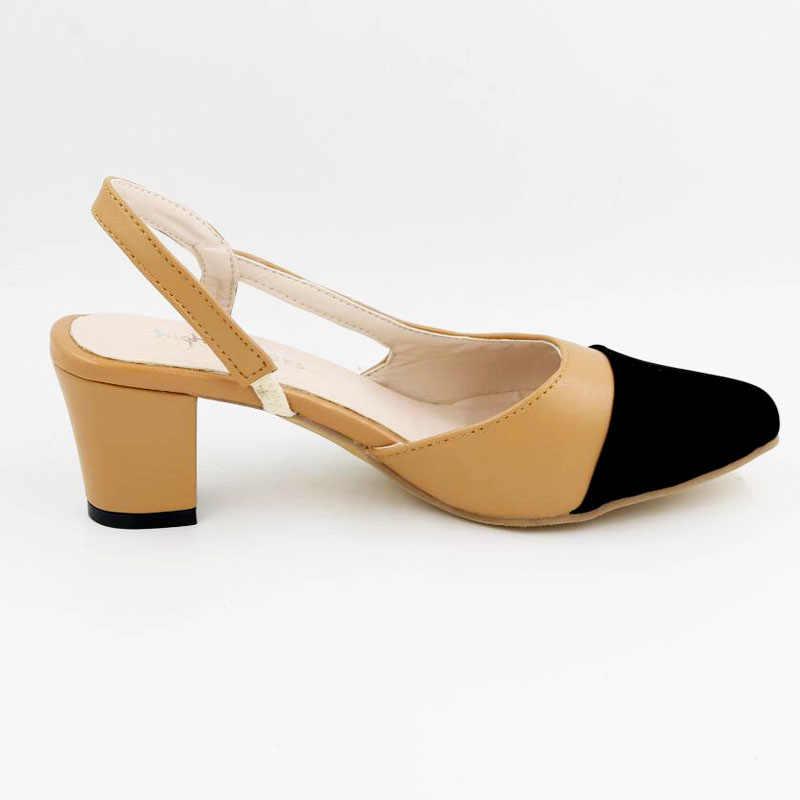 ce8953055eda ... Черные открытые женские туфли на толстой подошве с круглым носком  женские слинбэки модельные женские туфли потрясающие ...