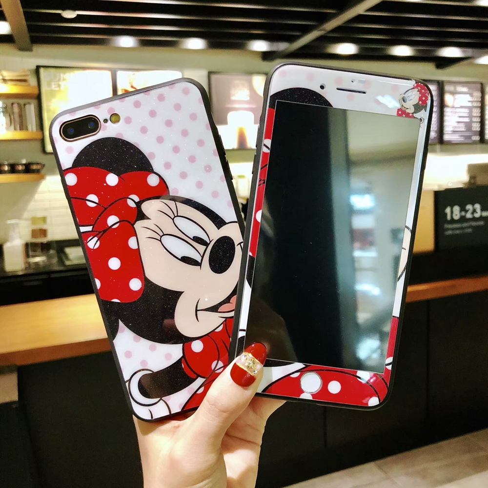 For iphone X 8 plus Lovers Mickey Minnie Phone Case Cover + Tempered Glass Screen Protector Case for iPhone 6 6s Plus 7plus