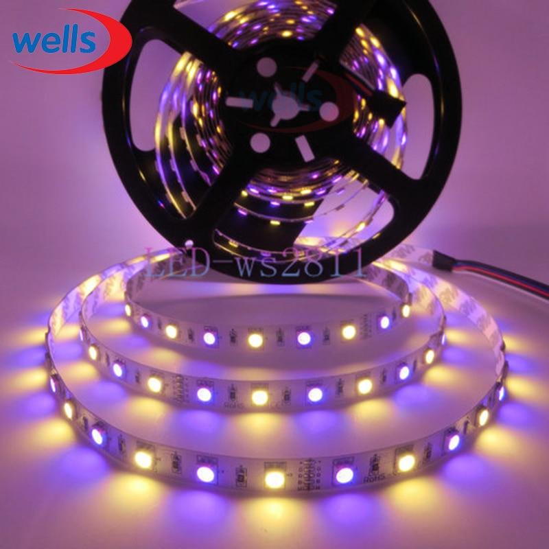 5 м/лот 5050 RGBW Светодиодные ленты smd 60leds/м гибкий свет RGB + белый/теплый белый Красочные полосы освещение 12 В-водонепроницаемый