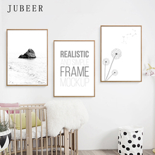 JUBEER Nordic Poster Print Modern Canvas Painting Dandelion Letters Wall Art Minimalist Landscape Wall Picture Home Decor