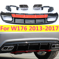 1 Set ABS Diffuser For Mercedes W176 A45 AMG A Class A180 A200 A250 Sport Edition With Stainless Steel Exhaust Tips 13 17