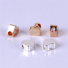 10pcs Mini Love Heart Shape 6mm Spacer Beads Gold And Silver Plated Straight Hole DIY Making Jewelry Copper Accessories JX7123