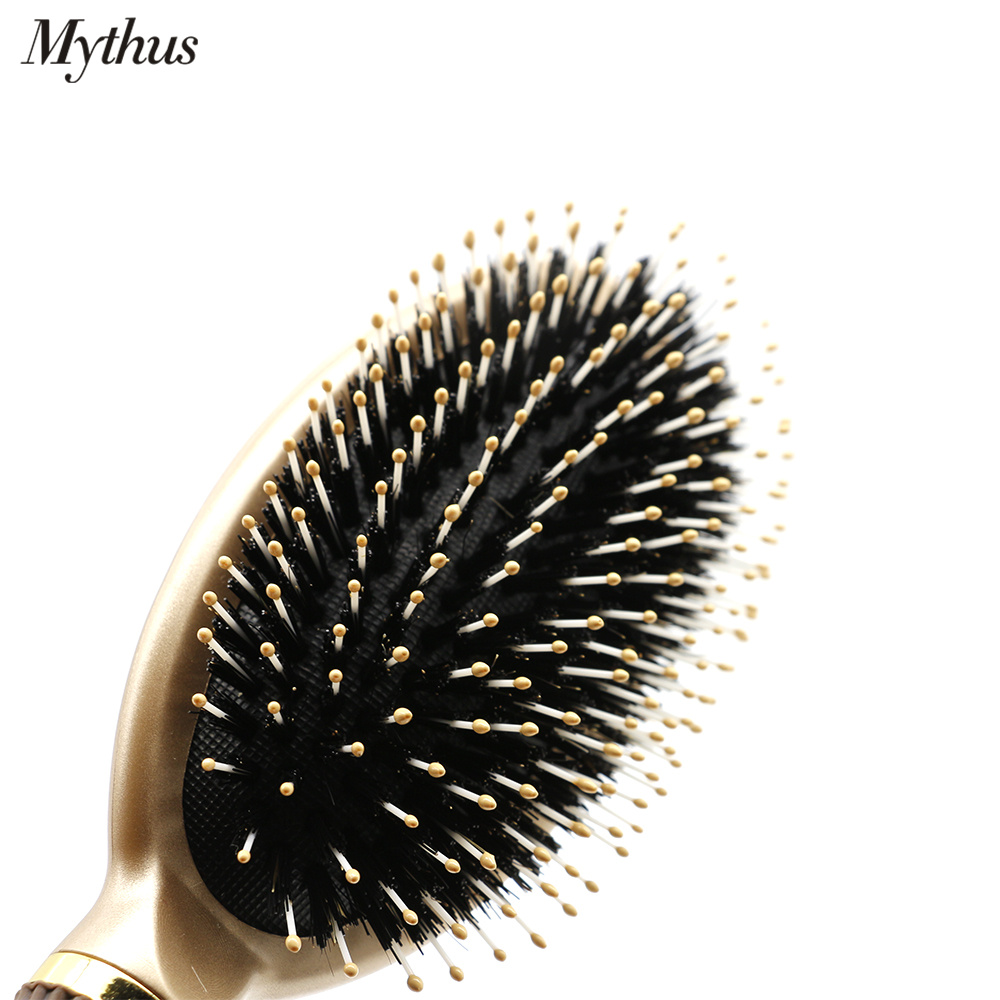 Купить с кэшбэком Mythus Natural Boar Bristle Hair Paddle Brush Antistatic Hairdressing Oval Brush For Hairstyling And Hair Straighting Anti Heat