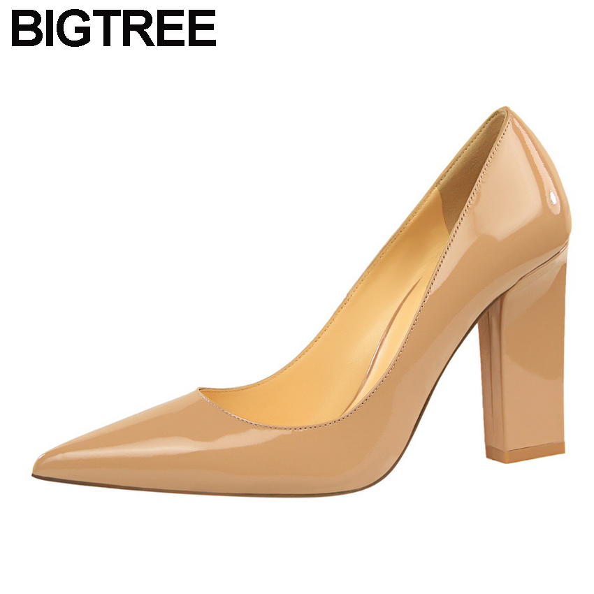 BIGTREE Women OL Shoes Faux Leather/Flock/Faux Sude High Heels Satin Pumps Pointy Toe Clubwear Dress Shoes Thick Block Heels