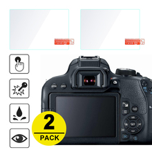 2 protectores de pantalla de vidrio templado para Canon 6D 70D 77D 80D 90D 600D 650D 700D 750D 760D 800D 9000D 1200D 1300D 1500D 2000D 8000