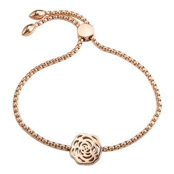 a191527d84e1 Pulseras de flores de Color oro rosa de plata brazaletes de acero inoxidable  Simple ajustable dijes pulsera para joyería de mujer
