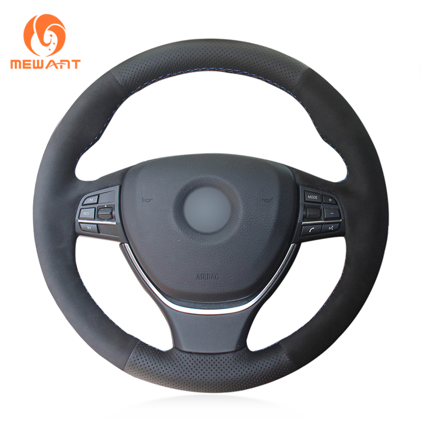 MEWANT Black Genuine Leather Black Suede Car Steering Wheel Cover for BMW F10 2014 520i 528i
