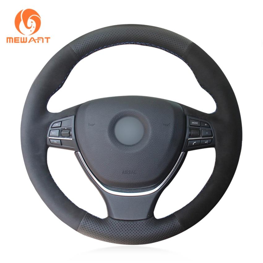 MEWANT Black Genuine Leather Black Suede Car Steering Wheel Cover for BMW F10 2014 520i 528i