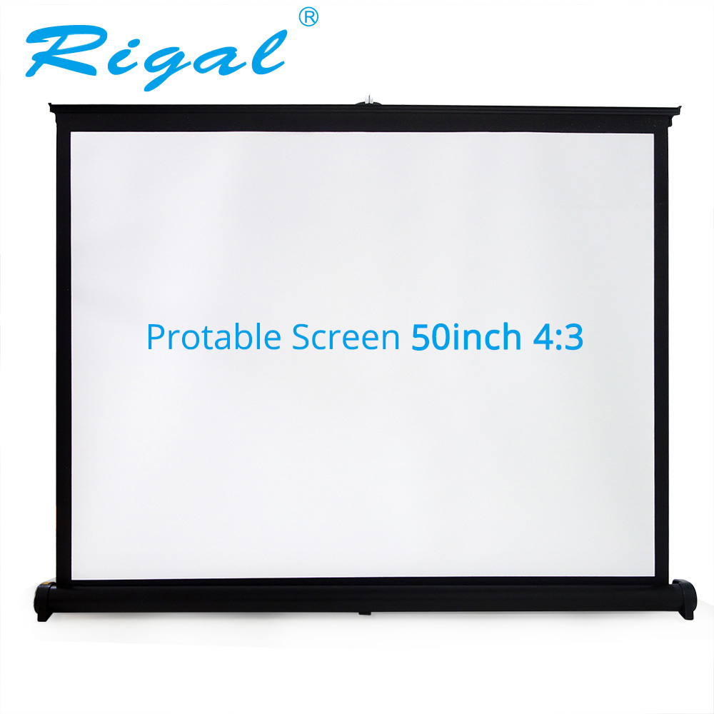 Rigal Projector Table Screen Portable 50 inch 4:3 Diagonal Mini  Matte White Projection Screen For Office Business Training authentic 72 inch 4 3 stents curtain projector screen projector screen projection screen projection screen