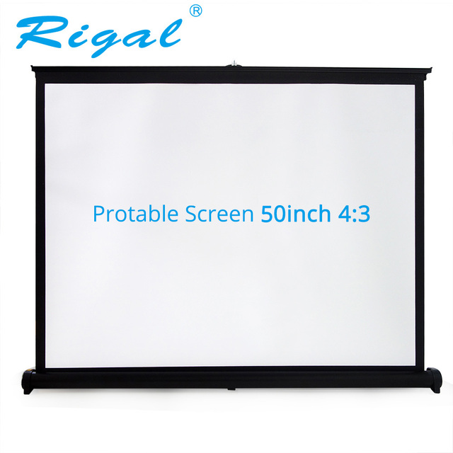 Rigal Projector Table Screen Portable 50 inch 4:3 Diagonal Mini  Matte White Projection Screen For Office Business Training