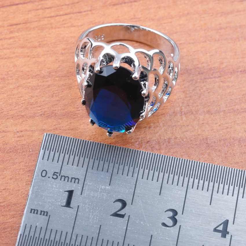 Blue Cubic Zirconia สำหรับเครื่องประดับงานแต่งงานของผู้หญิง 925 Sliver เครื่องแต่งกายชุดเครื่องประดับ 2019 แหวน/ต่างหู/สร้อยคอจี้ JS0165