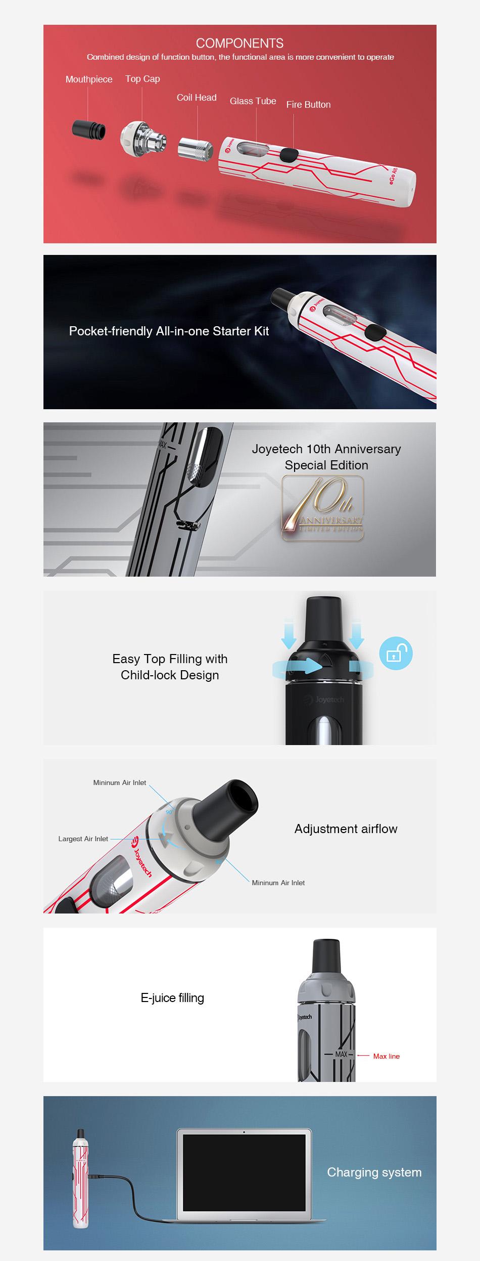 , Original Joyetech EGo AIO Vape Quick Kit 1500mah Battery 10th Anniversary Edition!  & 2ml Tank All In One Vape Pen Kit Ego Aio