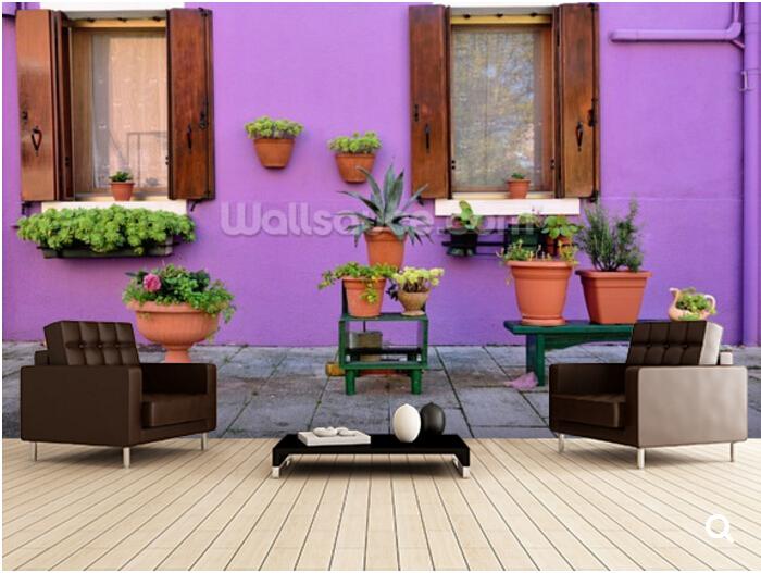 Benutzerdefinierte Lila Tapete Burano Insel Haus Venedig 3D Natrlichen Wandbild Fr Wohnzimmer Schlafzimmer Wandtapete