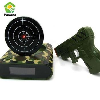 Gadget Target Laser Shoot Recordable Gun Alarm Clock Digital Electronic Desk Clock Table Nixie Clock Led Snooze Bedside For Kids