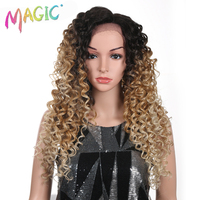 Magic Synthetic L Lace Front Wigs For Black Women Kinky Curly Ombre Blonde Color 28 Inches Heat Resistant Fake Hair Cosplay Wigs
