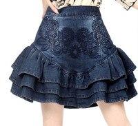 2016 Fashion Girls Women Denim Tutu Mini Vintage Party Autumn Jeans Women Embrodiery Skirt Ladies Apperal