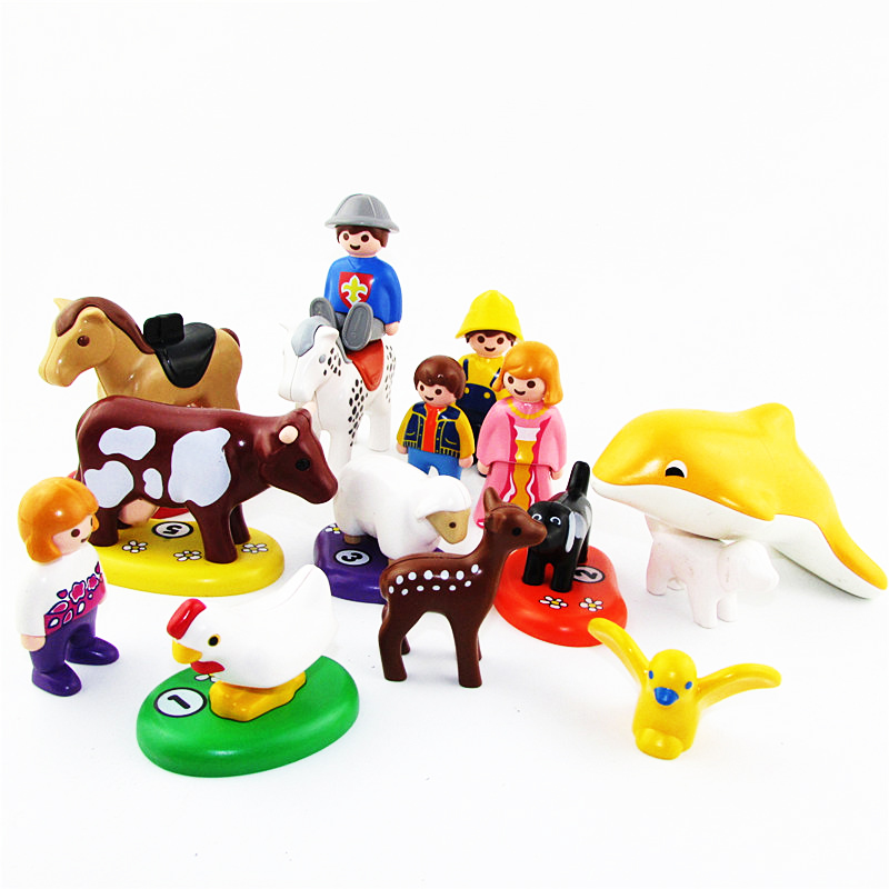 New 2017 Playmobil Germany Toys Animal Deer Birds Dog Horse Sheep Dolphin DIY Childrens Toys Kids Birthday Gifts Collection