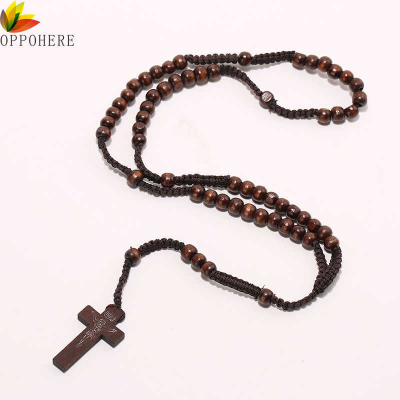 OPPOHERE Men Women Christ Wooden Beads 8mm Rosary Bead Cross Pendant Woven Rope Chain Necklace Jewelry Accessories