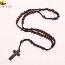 ec454aed1fe4 OPPOHERE hombres mujeres Cristo madera 8mm Rosario Cruz colgante collar de  cuerda tejida negro brown Beige  ligt marrón