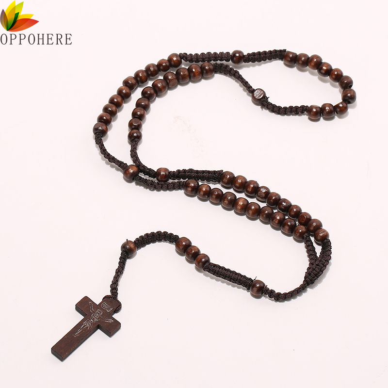 Us 071 10 Offoppohere Men Women Christ Wooden Beads 8mm Rosary Bead Cross Pendant Woven Rope Chain Necklace Jewelry Accessories In Pendant